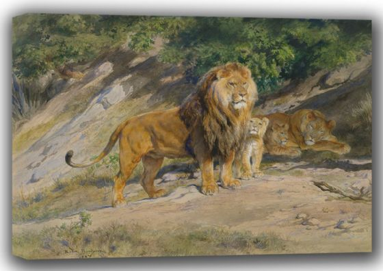 Bonheur, Rosa: The (Lion) King Watches. Fine Art Canvas. Sizes: A4/A3/A2/A1 (001606)